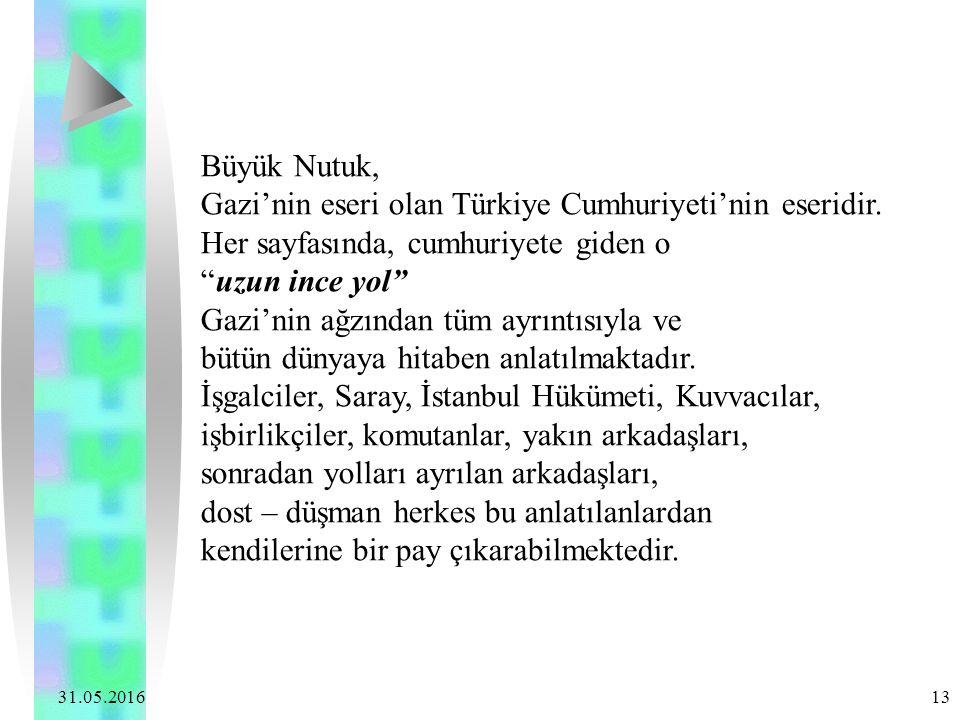 """31.05.2016 13 Büyük Nutuk, Gazi'nin eseri olan Türkiye Cumhuriyeti'nin eseridir. Her sayfasında, cumhuriyete giden o """"uzun ince yol"""" Gazi'nin ağzından"""