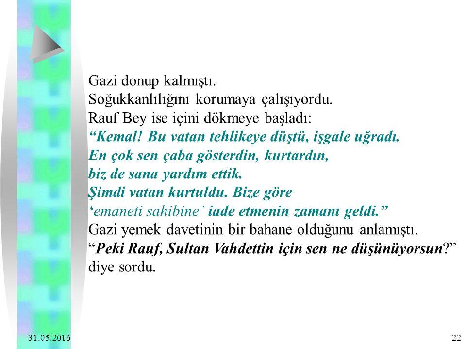 """31.05.2016 22 Gazi donup kalmıştı. Soğukkanlılığını korumaya çalışıyordu. Rauf Bey ise içini dökmeye başladı: """"Kemal! Bu vatan tehlikeye düştü, işgale"""