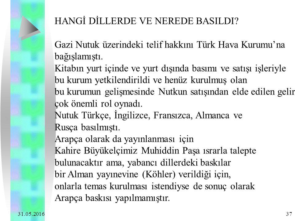 31.05.2016 37 HANGİ DİLLERDE VE NEREDE BASILDI? Gazi Nutuk üzerindeki telif hakkını Türk Hava Kurumu'na bağışlamıştı. Kitabın yurt içinde ve yurt dışı