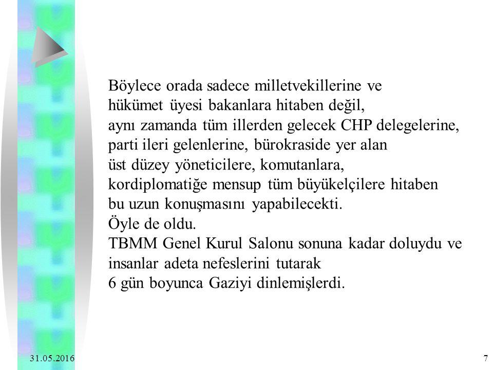 31.05.2016 7 Böylece orada sadece milletvekillerine ve hükümet üyesi bakanlara hitaben değil, aynı zamanda tüm illerden gelecek CHP delegelerine, part