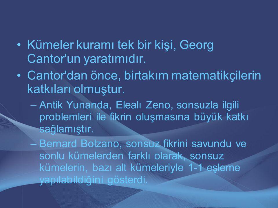 Kümeler kuramı tek bir kişi, Georg Cantor'un yaratımıdır. Cantor'dan önce, birtakım matematikçilerin katkıları olmuştur. –Antik Yunanda, Elealı Zeno,