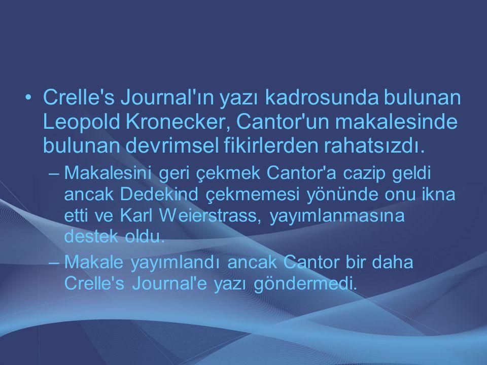 Crelle's Journal'ın yazı kadrosunda bulunan Leopold Kronecker, Cantor'un makalesinde bulunan devrimsel fikirlerden rahatsızdı. –Makalesini geri çekmek