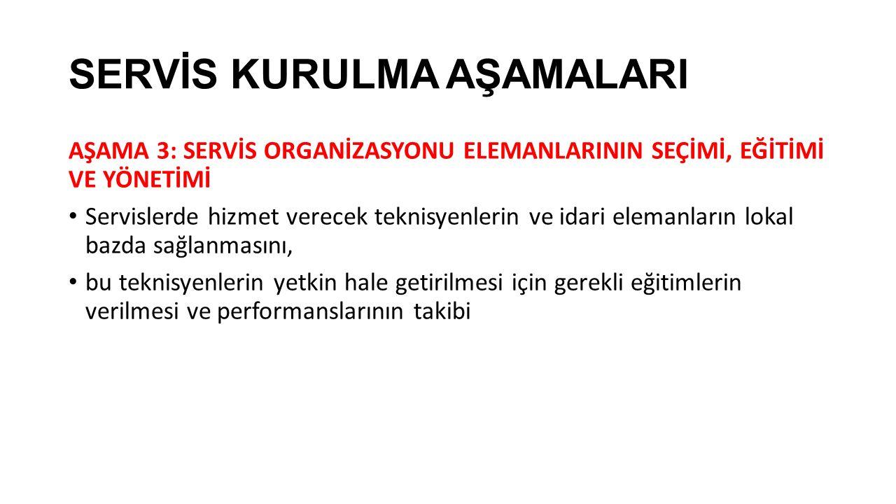 SERVİS KURULMA AŞAMALARI AŞAMA 3: SERVİS ORGANİZASYONU ELEMANLARININ SEÇİMİ, EĞİTİMİ VE YÖNETİMİ Servislerde hizmet verecek teknisyenlerin ve idari el