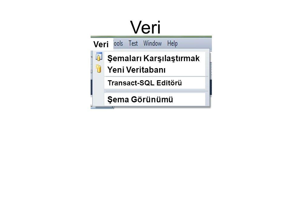 Veri Şemaları Karşılaştırmak Yeni Veritabanı Transact-SQL Editörü Şema Görünümü Veri