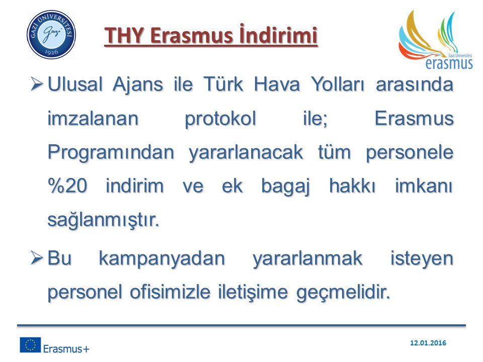  Ulusal Ajans ile Türk Hava Yolları arasında imzalanan protokol ile; Erasmus Programından yararlanacak tüm personele %20 indirim ve ek bagaj hakkı imkanı sağlanmıştır.