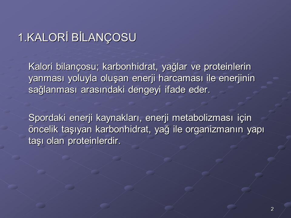 2 1.KALORİ BİLANÇOSU Kalori bilançosu; karbonhidrat, yağlar ve proteinlerin yanması yoluyla oluşan enerji harcaması ile enerjinin sağlanması arasındaki dengeyi ifade eder.