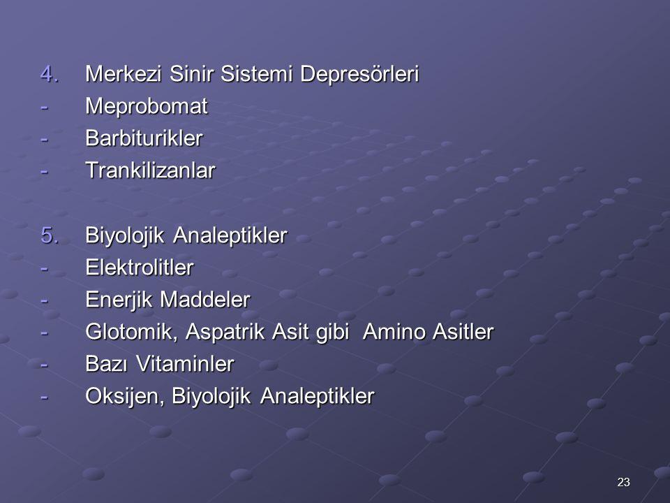 23 4.Merkezi Sinir Sistemi Depresörleri -Meprobomat -Barbiturikler -Trankilizanlar 5.Biyolojik Analeptikler -Elektrolitler -Enerjik Maddeler -Glotomik, Aspatrik Asit gibi Amino Asitler -Bazı Vitaminler -Oksijen, Biyolojik Analeptikler