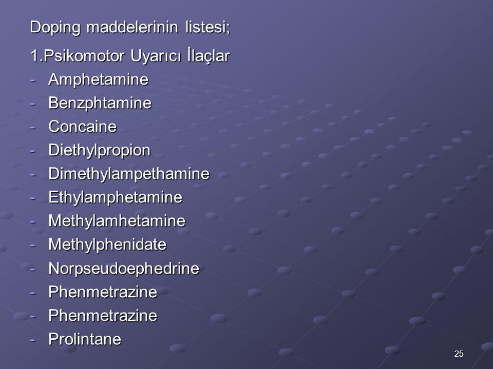25 Doping maddelerinin listesi; 1.Psikomotor Uyarıcı İlaçlar -Amphetamine -Benzphtamine -Concaine -Diethylpropion -Dimethylampethamine -Ethylamphetamine -Methylamhetamine -Methylphenidate -Norpseudoephedrine -Phenmetrazine -Prolintane
