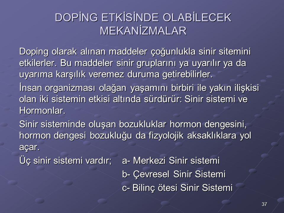 37 DOPİNG ETKİSİNDE OLABİLECEK MEKANİZMALAR Doping olarak alınan maddeler çoğunlukla sinir sitemini etkilerler.