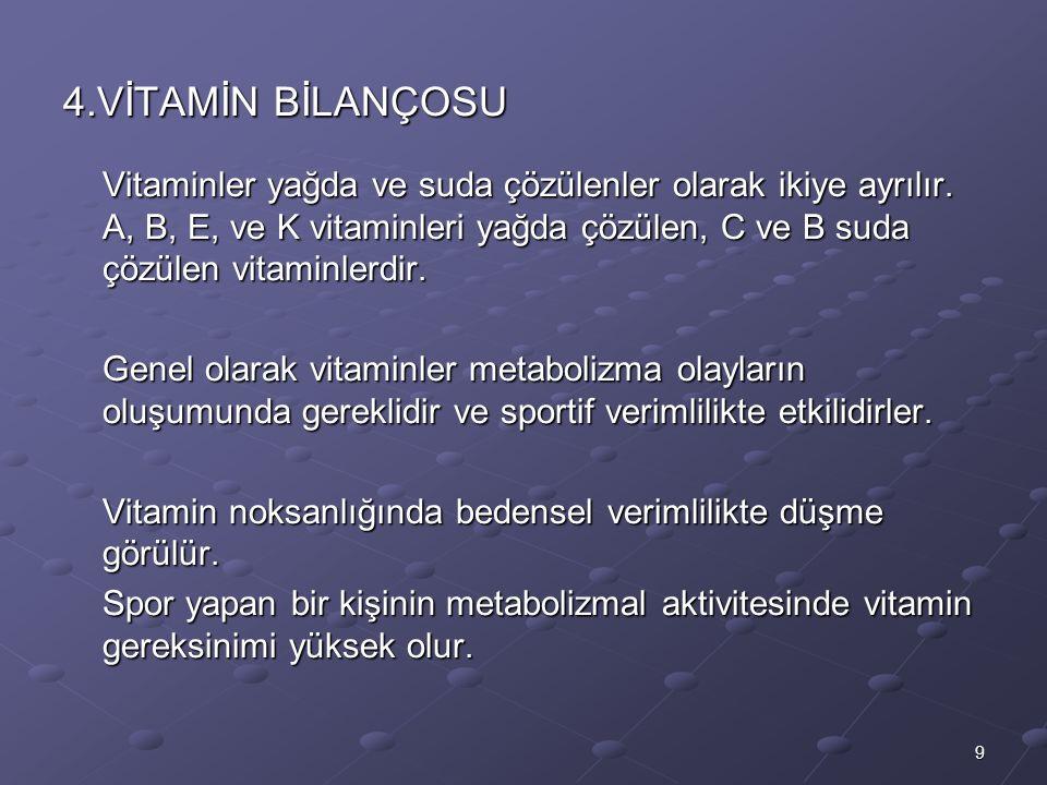 9 4.VİTAMİN BİLANÇOSU Vitaminler yağda ve suda çözülenler olarak ikiye ayrılır.