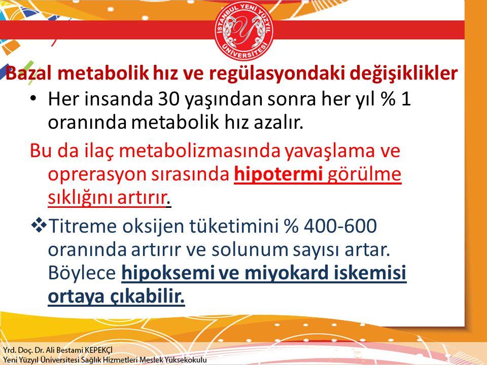 Bazal metabolik hız ve regülasyondaki değişiklikler Her insanda 30 yaşından sonra her yıl % 1 oranında metabolik hız azalır. Bu da ilaç metabolizmasın