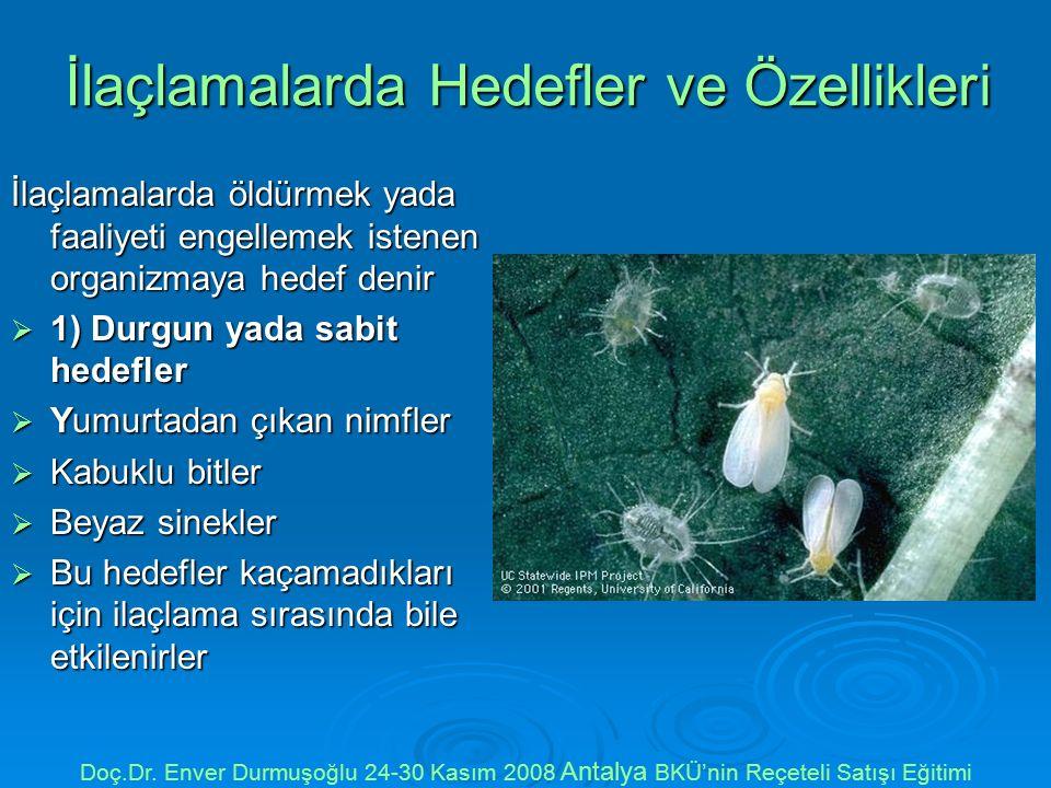  2-Hareketli hedefler  İlaçlama sırasında bitki üzerinde bulunmayan veya kaçabilen hedeflerdir  Çekirgeler, Meyve sinekleri, Cicadellidler Doç.Dr.
