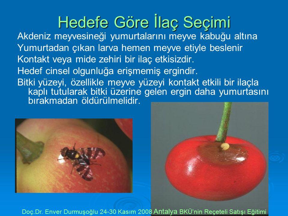 Hedefe Göre İlaç Seçimi Akdeniz meyvesineği yumurtalarını meyve kabuğu altına Yumurtadan çıkan larva hemen meyve etiyle beslenir Kontakt veya mide zehiri bir ilaç etkisizdir.
