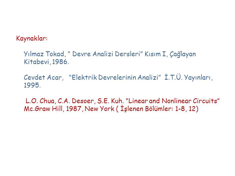 Kaynaklar: Yılmaz Tokad, Devre Analizi Dersleri Kısım I, Çağlayan Kitabevi, 1986.