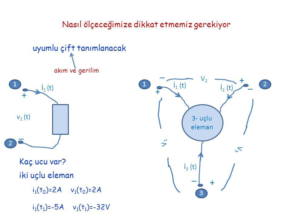 Nasıl ölçeceğimize dikkat etmemiz gerekiyor uyumlu çift tanımlanacak akım ve gerilim Kaç ucu var? İ 1 (t) + _ v 1 (t) iki uçlu eleman 12 3 1 2 + + + _