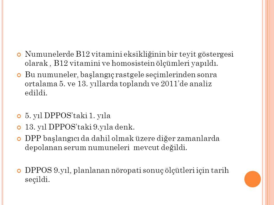 Numunelerde B12 vitamini eksikliğinin bir teyit göstergesi olarak, B12 vitamini ve homosistein ölçümleri yapıldı. Bu numuneler, başlangıç rastgele seç