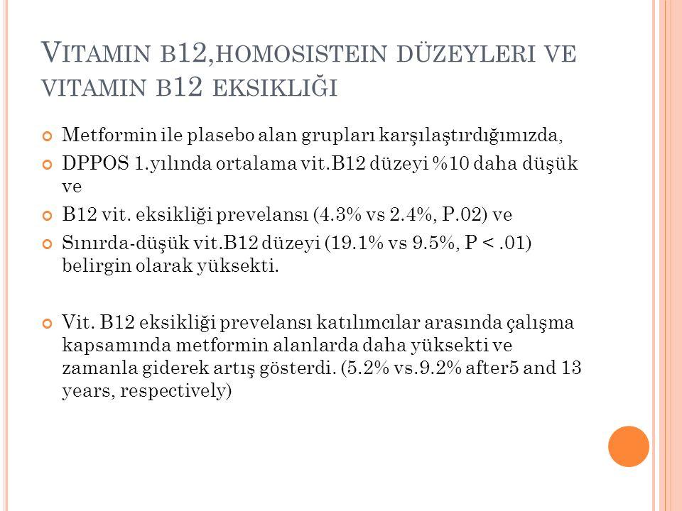 V ITAMIN B 12, HOMOSISTEIN DÜZEYLERI VE VITAMIN B 12 EKSIKLIĞI Metformin ile plasebo alan grupları karşılaştırdığımızda, DPPOS 1.yılında ortalama vit.B12 düzeyi %10 daha düşük ve B12 vit.