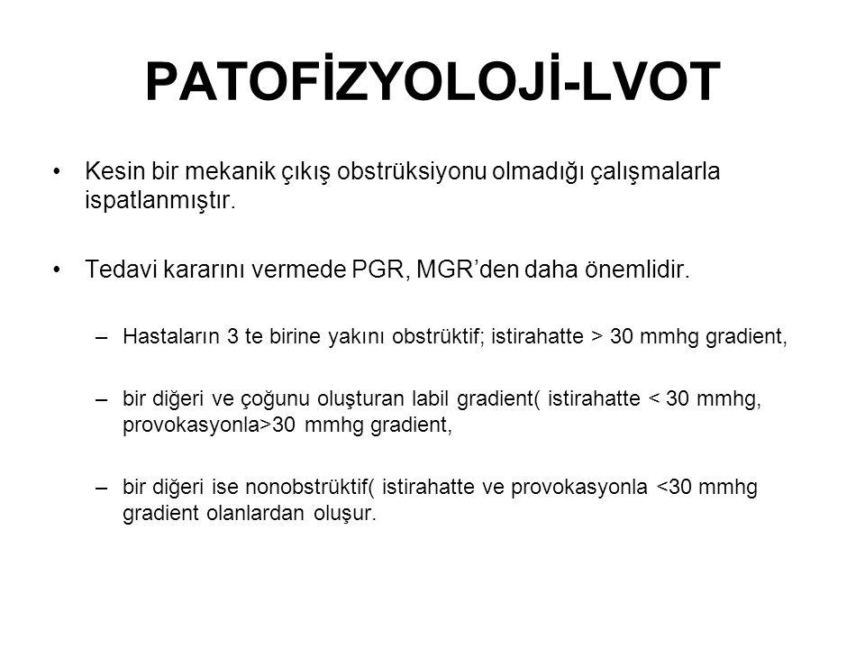 PATOFİZYOLOJİ-LVOT Kesin bir mekanik çıkış obstrüksiyonu olmadığı çalışmalarla ispatlanmıştır.