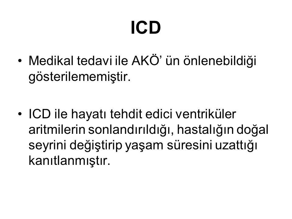 ICD Medikal tedavi ile AKÖ' ün önlenebildiği gösterilememiştir.