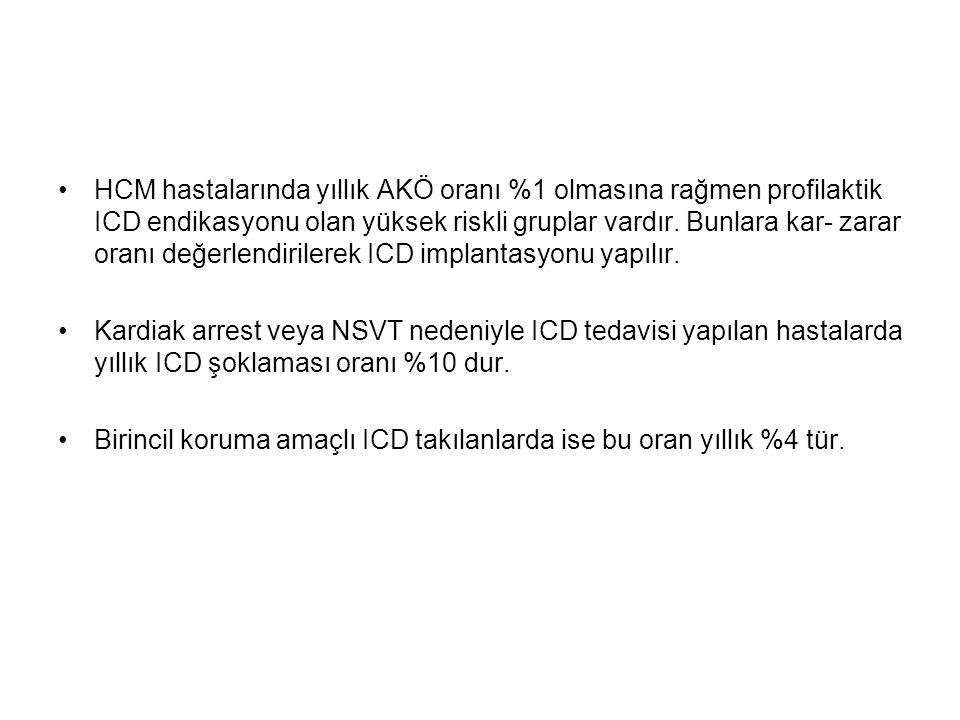 HCM hastalarında yıllık AKÖ oranı %1 olmasına rağmen profilaktik ICD endikasyonu olan yüksek riskli gruplar vardır.