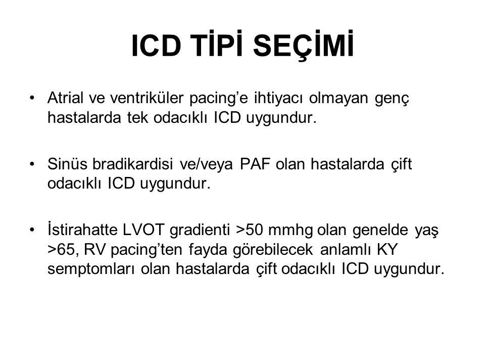 ICD TİPİ SEÇİMİ Atrial ve ventriküler pacing'e ihtiyacı olmayan genç hastalarda tek odacıklı ICD uygundur.