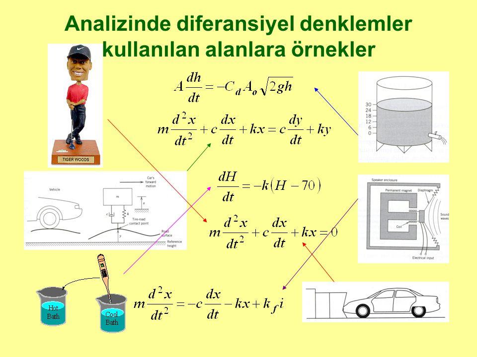 Analizinde diferansiyel denklemler kullanılan alanlara örnekler