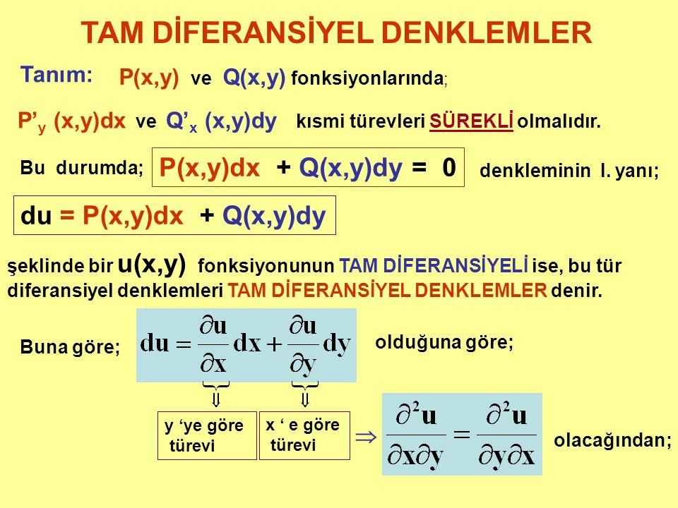 TAM DİFERANSİYEL DENKLEMLER Tanım: P(x,y) ve Q(x,y) fonksiyonlarında ; P' y (x,y)dx ve Q' x (x,y)dy kısmi türevleri SÜREKLİ olmalıdır. Bu durumda; P(x