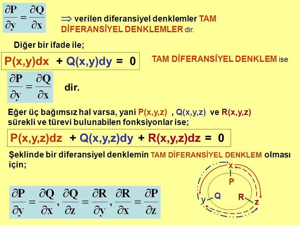 verilen diferansiyel denklemler TAM DİFERANSİYEL DENKLEMLER dir.