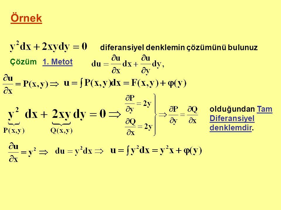 diferansiyel denklemin çözümünü bulunuz Çözüm 1. Metot olduğundan Tam Diferansiyel denklemdir.