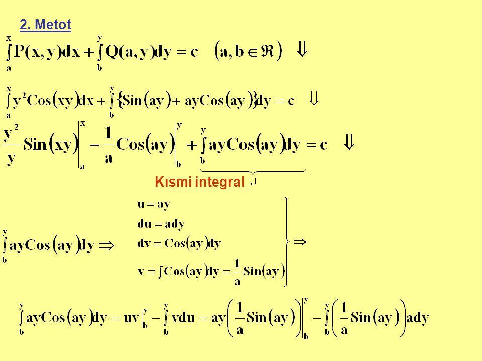 2. Metot Kısmi integral