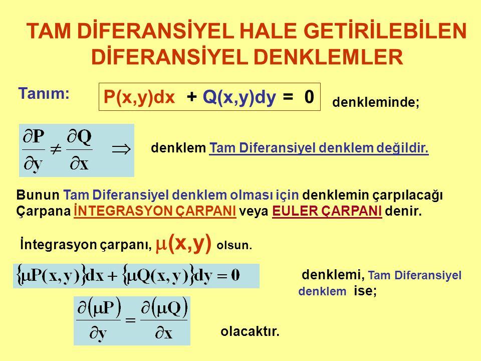 TAM DİFERANSİYEL HALE GETİRİLEBİLEN DİFERANSİYEL DENKLEMLER Tanım: P(x,y)dx + Q(x,y)dy = 0 denkleminde; denklem Tam Diferansiyel denklem değildir. Bun