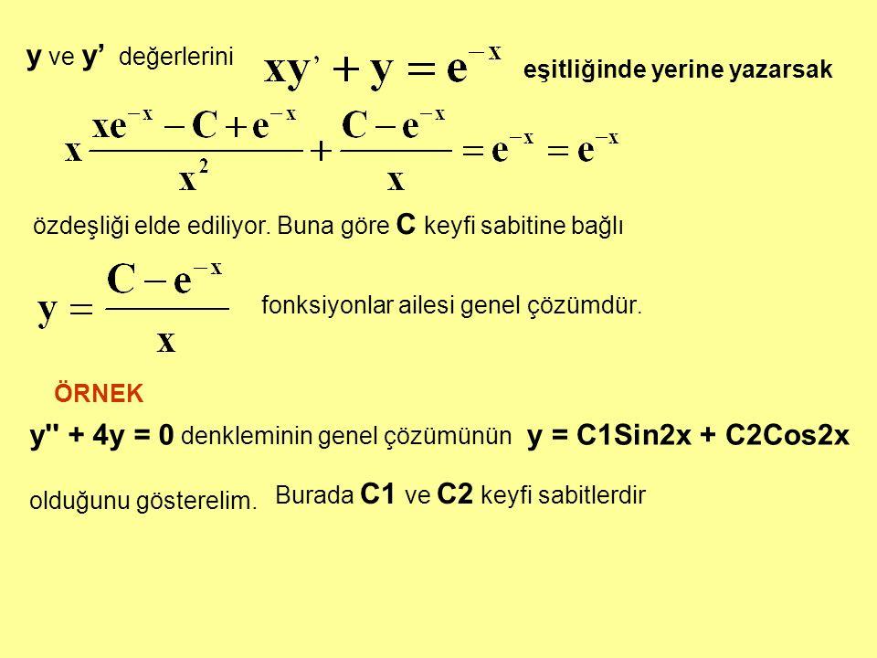 y ve y' değerlerini eşitliğinde yerine yazarsak özdeşliği elde ediliyor. Buna göre C keyfi sabitine bağlı fonksiyonlar ailesi genel çözümdür. y'' + 4y