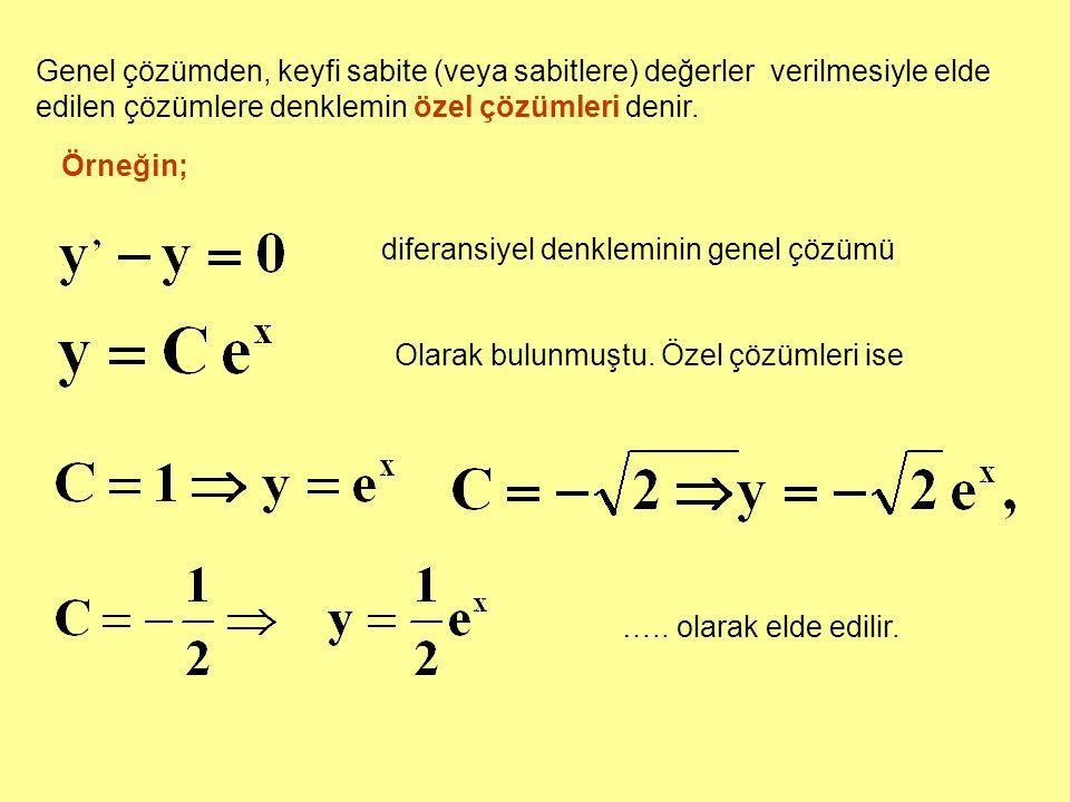 Genel çözümden, keyfi sabite (veya sabitlere) değerler verilmesiyle elde edilen çözümlere denklemin özel çözümleri denir. Örneğin; diferansiyel denkle