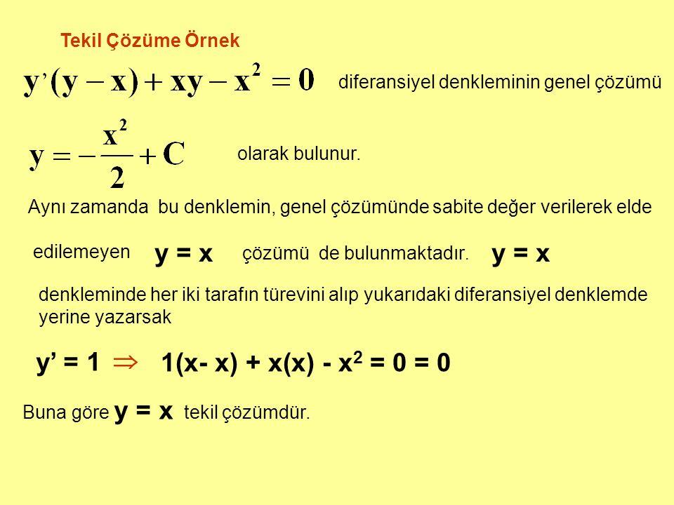 Tekil Çözüme Örnek Aynı zamanda bu denklemin, genel çözümünde sabite değer verilerek elde edilemeyen Buna göre y = x tekil çözümdür. y = x denkleminde