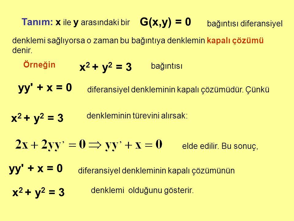 Tanım: x ile y arasındaki bir G(x,y) = 0 bağıntısı diferansiyel bağıntısı denklemi sağlıyorsa o zaman bu bağıntıya denklemin kapalı çözümü denir. Örne