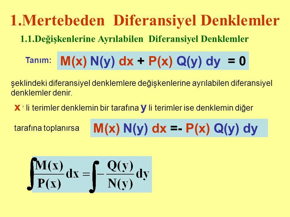 1.Mertebeden Diferansiyel Denklemler 1.1.Değişkenlerine Ayrılabilen Diferansiyel Denklemler Tanım: M(x) N(y) dx + P(x) Q(y) dy = 0 şeklindeki diferansiyel denklemlere değişkenlerine ayrılabilen diferansiyel denklemler denir.