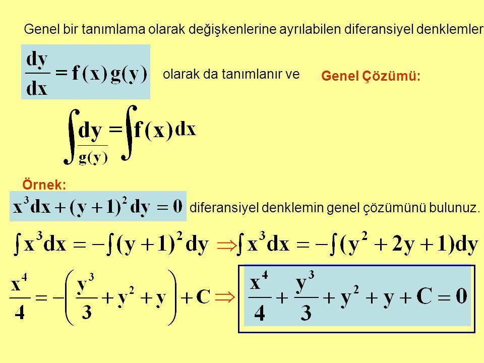 Genel bir tanımlama olarak değişkenlerine ayrılabilen diferansiyel denklemler olarak da tanımlanır ve Genel Çözümü: Örnek: diferansiyel denklemin genel çözümünü bulunuz.