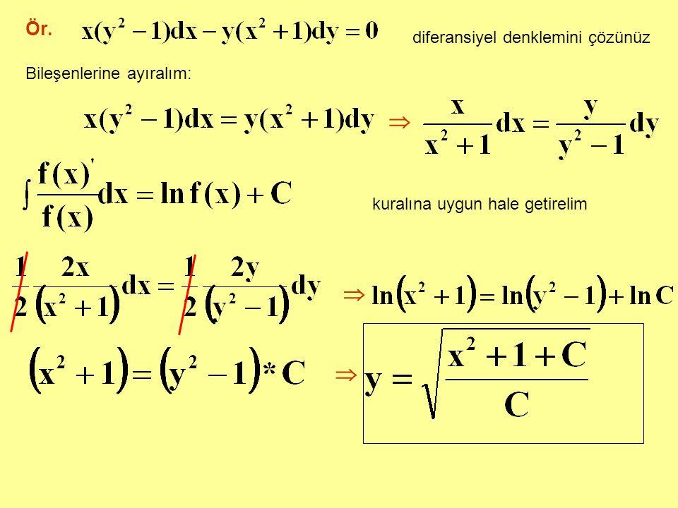 Ör. diferansiyel denklemini çözünüz Bileşenlerine ayıralım:  kuralına uygun hale getirelim  