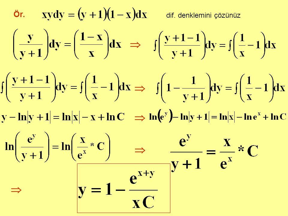 Ör. dif. denklemini çözünüz     
