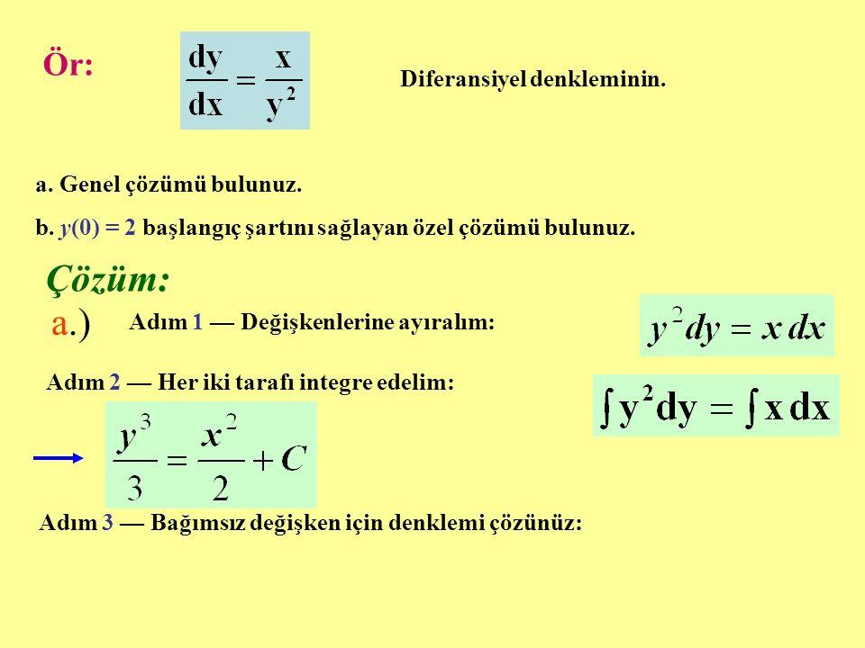 Ör: Diferansiyel denkleminin.a. Genel çözümü bulunuz.