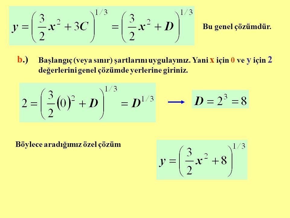 Bu genel çözümdür. b.)b.) Başlangıç (veya sınır) şartlarını uygulayınız. Yani x için 0 ve y için 2 değerlerini genel çözümde yerlerine giriniz. Böylec