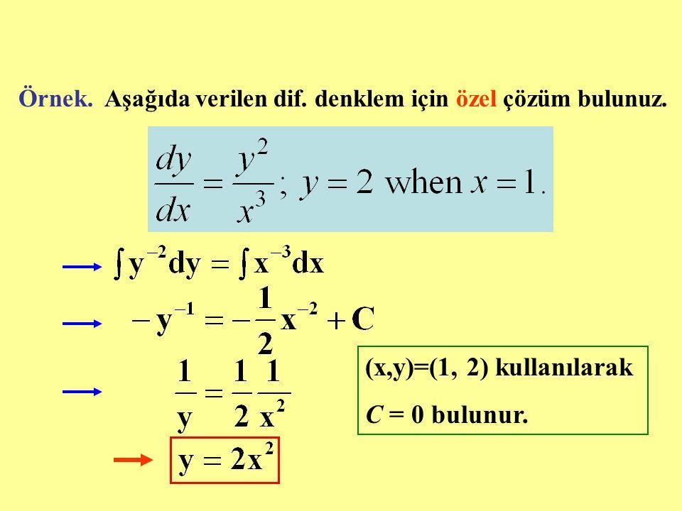 Örnek. Aşağıda verilen dif. denklem için özel çözüm bulunuz. (x,y)=(1, 2) kullanılarak C = 0 bulunur.