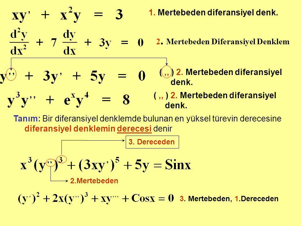 2. Mertebeden Diferansiyel Denklem (,, ) 2. Mertebeden diferansiyel denk. Tanım: Bir diferansiyel denklemde bulunan en yüksel türevin derecesine difer