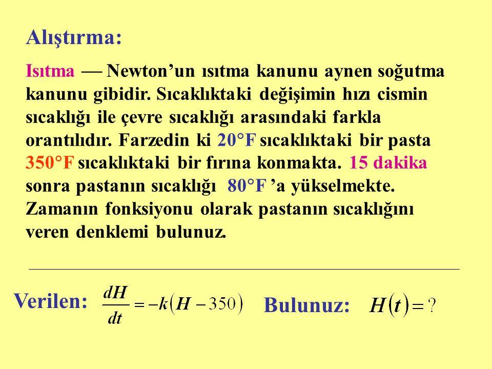 Isıtma  Newton'un ısıtma kanunu aynen soğutma kanunu gibidir.