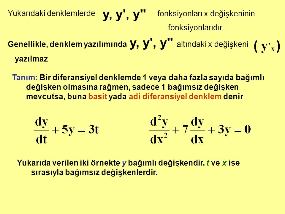 Yukarıdaki denklemlerde y, y', y'' fonksiyonları x değişkeninin fonksiyonlarıdır. Genellikle, denklem yazılımında y, y', y'' altındaki x değişkeni yaz
