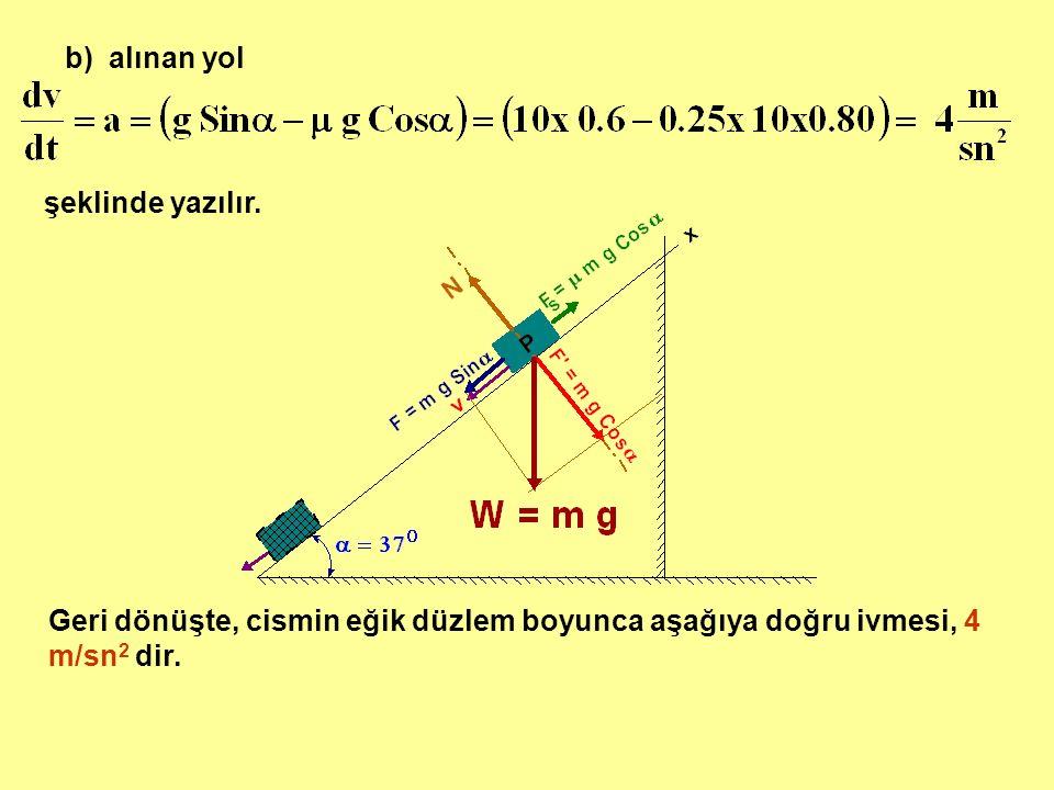 b) alınan yol şeklinde yazılır. Geri dönüşte, cismin eğik düzlem boyunca aşağıya doğru ivmesi, 4 m/sn 2 dir.