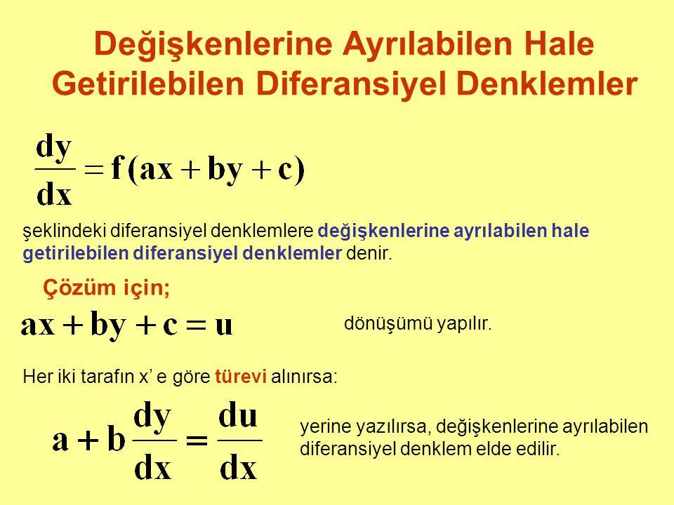 Değişkenlerine Ayrılabilen Hale Getirilebilen Diferansiyel Denklemler şeklindeki diferansiyel denklemlere değişkenlerine ayrılabilen hale getirilebile