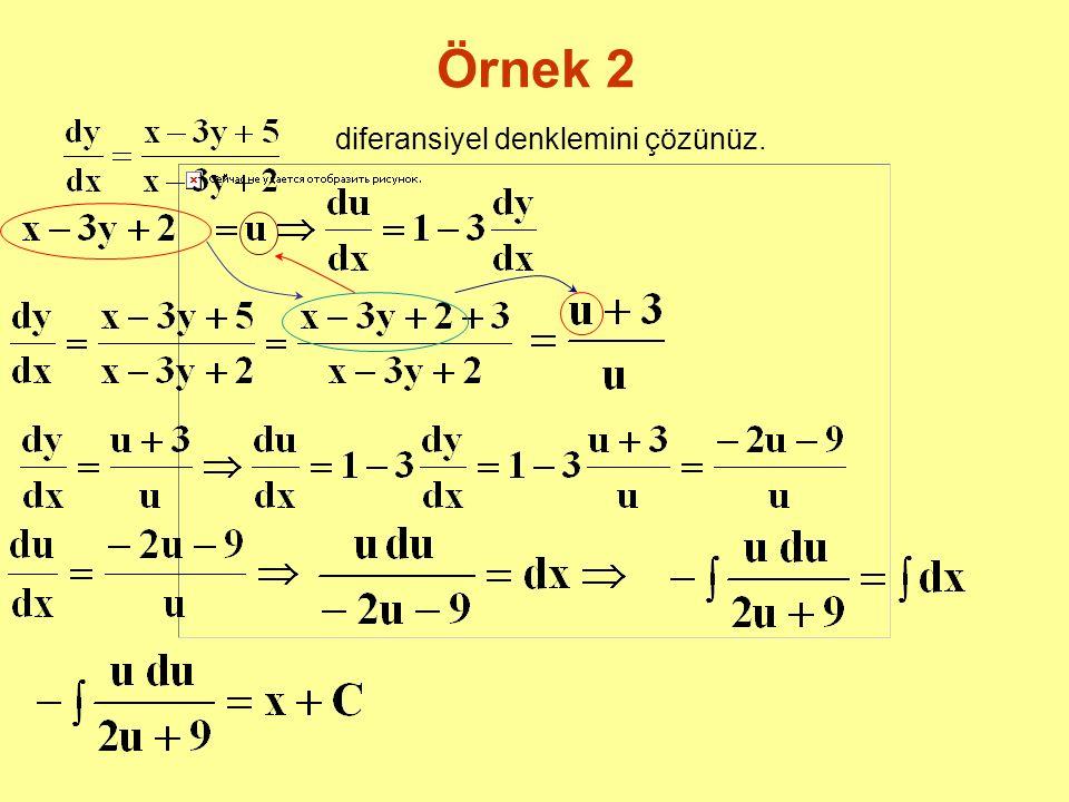 Örnek 2 diferansiyel denklemini çözünüz.