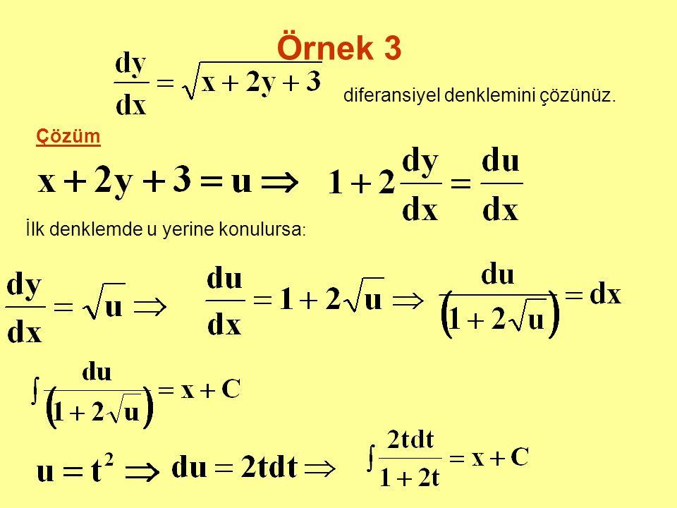 Örnek 3 diferansiyel denklemini çözünüz. Çözüm İlk denklemde u yerine konulursa :