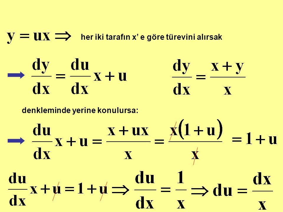 her iki tarafın x' e göre türevini alırsak denkleminde yerine konulursa: